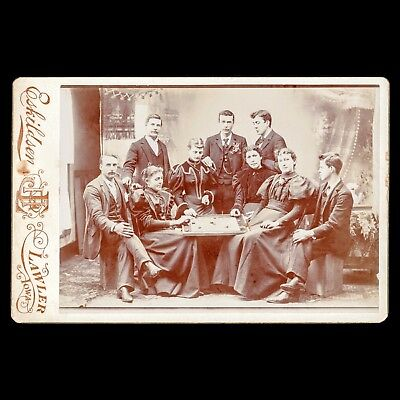 RARE Unusual Antique Victorian Cabinet Card Photo Group Playing A Boardgame