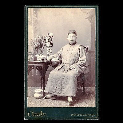 RARE Unusual Antique Victorian Cabinet Card Photo Asian Man Traditional Outfit