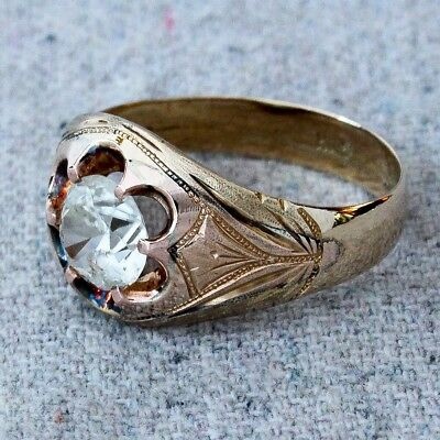 Antique Mens Victorian Edwardian 10k Gold Ring Faceted Faux Diamond Size 10.75