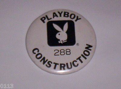 Ultra Rare 1980 Playboy Casino Atlantic City Construction Worker ID Pin Badge