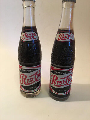 2 Full Pepsi Cola Bottle Red & White Painted Label Soda Pop 10 oz. NY & Dallas