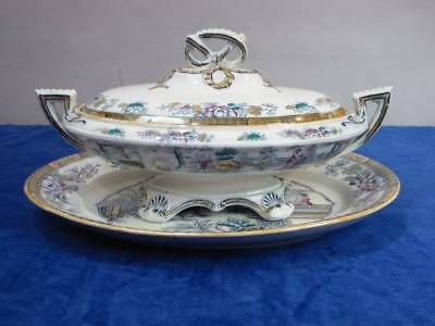 Antique Bw Bates Walker Polychrome Covered Bowl W/underplate, Chinoiserie
