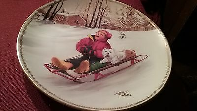 Sleigh Mates: The Danbury Mint Collection Plate Donald Zolan Puppy Pals