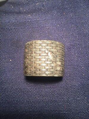 Antique Silverplate Napkin Ring Basket Weave   Bug And Flowers Engraved