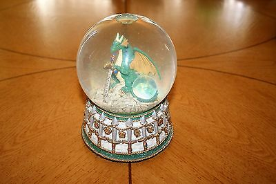 Crystal Visions Dragon w/ Sword Water Globe/Music Box (Chariots of Fire)