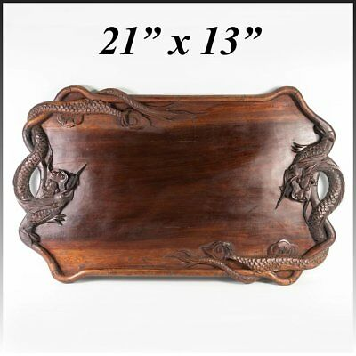 """Antique to Vintage early 1900s Hand Carved Teak Dragon Serving Tray, 21"""" x 13"""""""