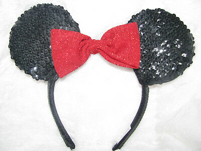 Disney Parks Minnie Mouse Black Red Bow Sequined Ears Headband