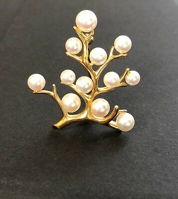 Mikimoto 14K Yellow Gold Pearl Tree of Life Brooch with Box
