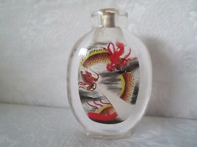 Chinese DRAGON Hand Painted INSIDE Glass Snuff Bottle RARE Chinese Printing