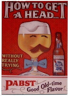 Pabst Blue Ribbon  Beer METAL counter display sign - How to Get a Head - PBR