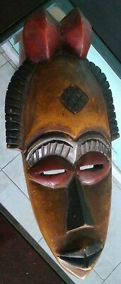 Vintage African Hand Carved Wooden Tribal Mask Wall Art Solid Hardwood Colorful