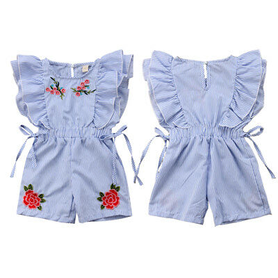 UK Toddler Kids Baby Girl Flower Stripe Ruffle Romper Jumpsuit Outfits Clothes