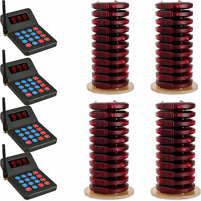 999CH Restaurant Wireless Call Paging Queuing System 4*Transmitter+40*Pager US