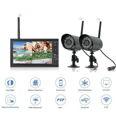 "Wireless 4CH Quad DVR 2 Cameras with 7"" TFT LCD Monitor Home Security System New"