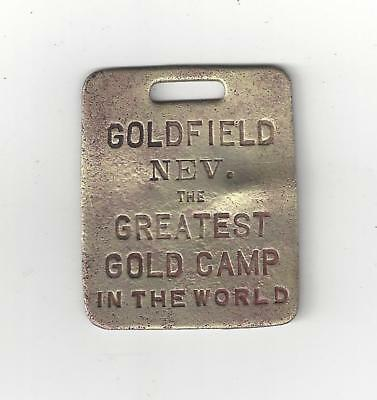 RARE 1905 Goldfield Nevada watch fob token w/ picture of prospector's pack burro
