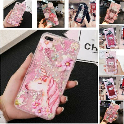 Sprint 3D Mobile Cover New Cartoon Pattern Liquid Glitter Case For iPhone 6 7 8
