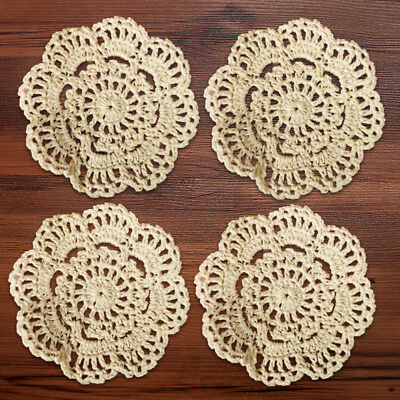 4Pcs/Lot Vintage Hand Crochet Cotton Lace Doilies Cup Coasters Round 4inch Small