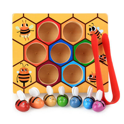 Children Montessori Educational Toys Preschool Wooden Bee Clip Out B-day Gift