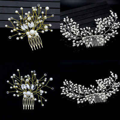 Fashion Bride Hair Comb Wedding Pearl Bridal Women Headwear Hair Accessories EU