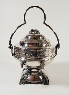 Antique 1800's Simpson Hall Miller Quadruplate Silverplate Butter Dish W/ Handle