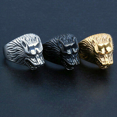 Man's Mens Male Vintage Wolf Rings Wolf Head Rings Punk Finger Knuckle Ring Wo