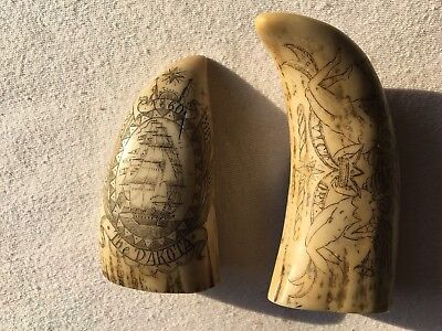 "Replica Scrimshaw 2 Pieces ""The Nantucket and Dakota "" Engraving."