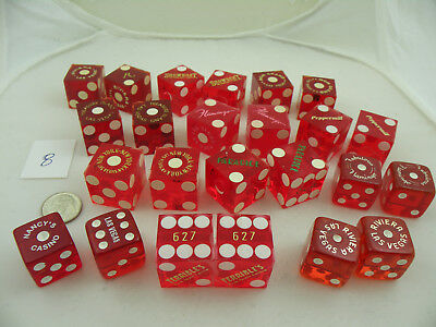 ASSORTMENT of 24 VINTAGE DICE from CASINOS - d08