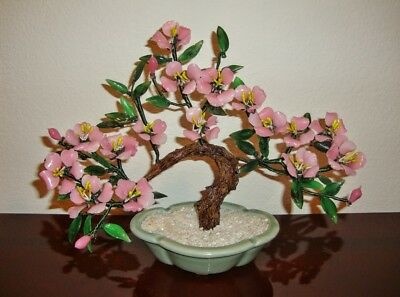 VINTAGE Asian pink jade bonsai tree glass flower plant
