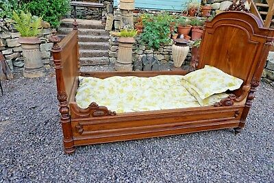 FRENCH ANTIQUE DAY BED, Large single, Small double SLEIGH BED romantic gothic