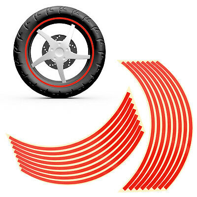 """Motorbike Car Reflective Wheel Rim Trim Tape Sticker Up to 17"""" Red Pack of 16"""