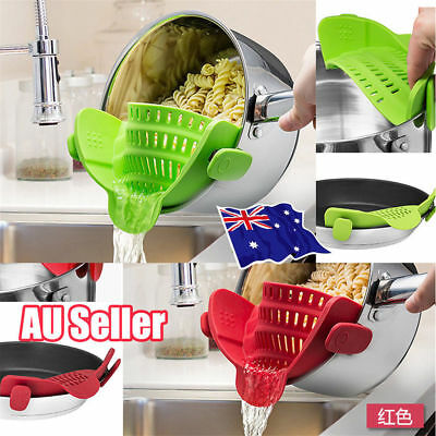 Strainer Drain Wash Rice Noodle Food Pot Baffle Filter Colander Kitchen Tool S4