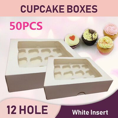 50pcs Muffin Paper Cupcake Box Paperboard Cakes Cookies Packing Gift Case 12Hole