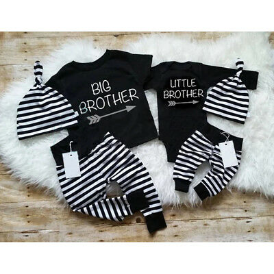 UK Baby Boy Family Matching Outfit Little/Big Bro Romper Tops+Pants+Hat 3Pcs Set