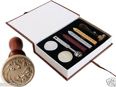 Game of Thrones Badge House Targarye Dragon Wax Seal Stamp Set Collection Gift