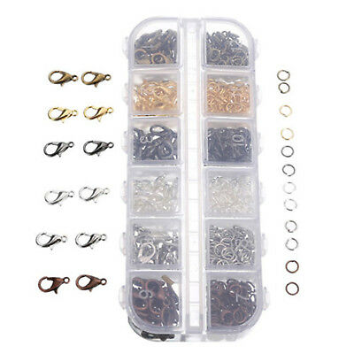840Pcs 6 Colors Mixed Lobster Clasp Hooks Open Jump Ring DIY Jewelry Findings
