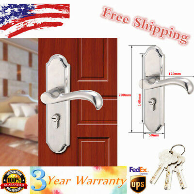 Stainless Steel Keyed Privacy Door Security Entry Lever Mortise Lock Sets US