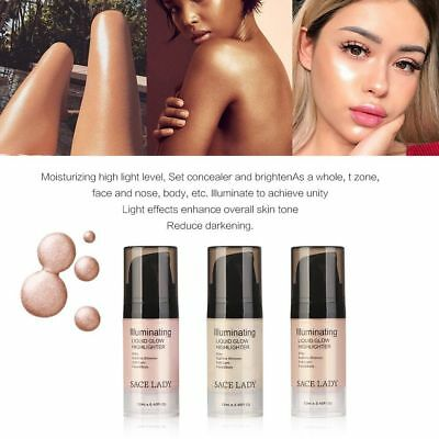 Face Highlighter Cream Liquid Illuminator Makeup Shimmer Glow Kit Shine Cosmetic