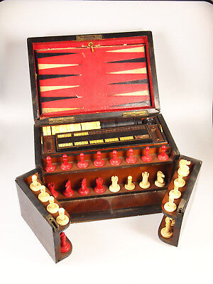 Antique Wooden Games Box Compendium Chess, Backgammon, Horse Racing & Dom