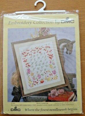 DMC Freestyle EMBROIDERY KIT - FRUIT & ALPHABET SAMPLER - size 12 x 15 inch