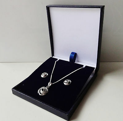Sterling Silver with Diamonds Optima UK Designed Necklace and Earring Set