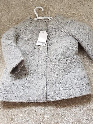 Next Baby Girls Wool Gtey Smart Coat Age 12-18 Months Bnwt