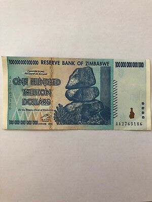 zimbabwe 100 trillion Dollars Banknote Money Currency Note Bill