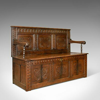 Antique Coffer Settle, English, Oak, Hall, Bench, Seat, Circa 1700