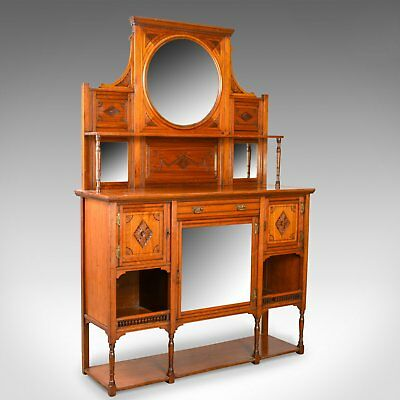 Antique Sideboard, English, Edwardian, Chiffonier, Walnut, Tall, Circa 1910