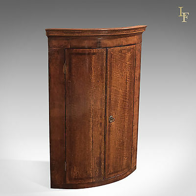 Antique Corner Cabinet, Georgian Hanging Bow Front Cupboard, English Oak c.1780