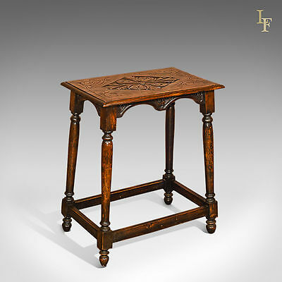 Antique Occasional Table, Victorian, Carved, Oak, Side Stand, English c.1890