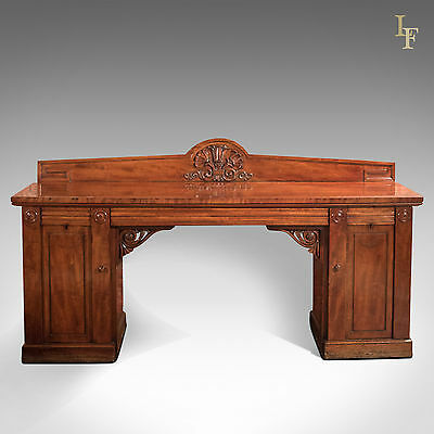 Large Early William IV Antique Pedestal Sideboard in Mahogany c.1835
