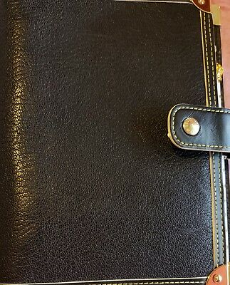 LOUIS VUITTON Suhali Leather Canvas Agenda MM Day Planner Cover Black R20885 ...