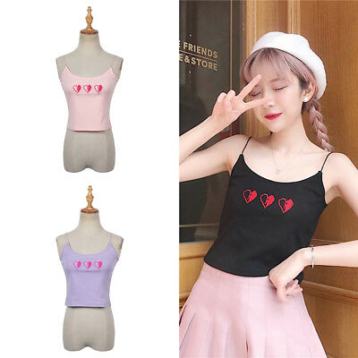 Fashion Heart Embroidery Printed Camisole Women Sexy Summer Loose Top Cute Wear