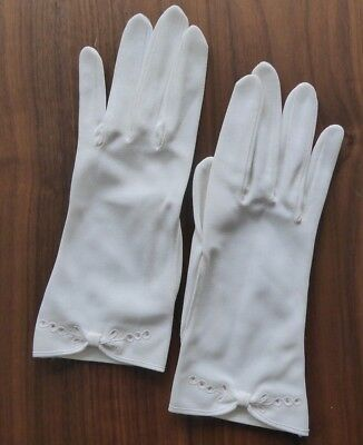 Original Vintage White Nylon Womens Gloves With Cut-Out Detail